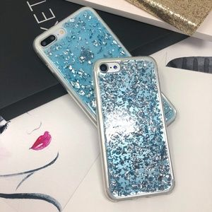 Accessories - iPhone Blue Glitter Foil Flakes Case